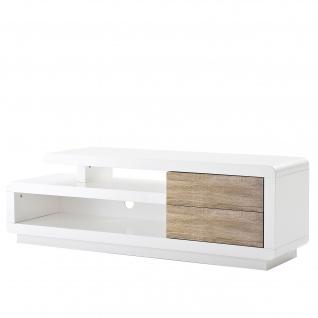 MCA TV-Rack Cosima, Lowboard Fernsehtisch mit Schubladen, hochglanz weiß 45x142x40cm Eiche