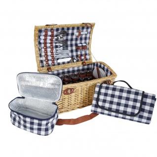 Picknickkorb-Set HWC-B23 für 6 Personen, Weiden-Korb Picknickdecke, Porzellan Glas Edelstahl