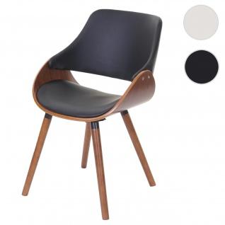 Esszimmerstuhl HWC-D23, Küchenstuhl Stuhl, Retro-Design Kunstleder schwarz