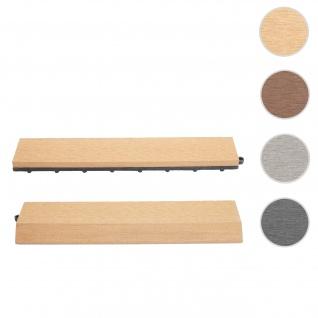 2x Abschlussleiste für WPC Bodenfliese Rhone, Abschlussprofil, Holzoptik Balkon/Terrasse ~ teak gerade ohne Haken