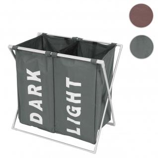 Wäschesammler HWC-C36, Laundry Wäschesortierer Wäschekorb, 2 Fächer klappbar 58x59x37cm 127l ~ grau