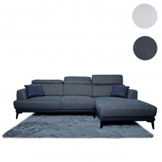 Sofa HWC-G44, Couch Ecksofa L-Form, Liegefläche Nosagfederung Taschenfederkern Teppich verstellbar ~ rechts, dunkelgrau