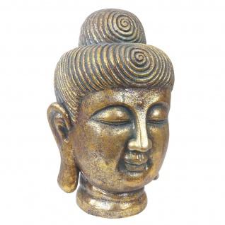 XL Deko Figur Buddha 38cm, Polyresin Skulptur Kopf, In-/Outdoor gold - Vorschau 4