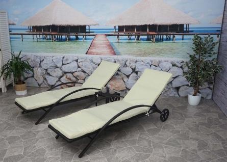 2x Sonnenliege HWC-E27, Relaxliege Gartenliege, Poly-Rattan ~ schwarz, Kissen creme-beige - Vorschau 3