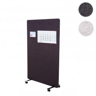 Akustik-Trennwand HWC-G77, Büro-Sichtschutz Raumteiler Pinnwand, doppelwandig rollbar Stoff/Textil ~ 127x80cm braun-grau