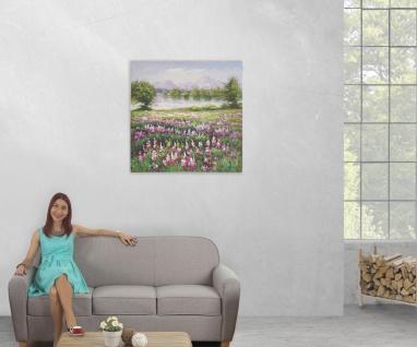 Ölgemälde Blumenwiese, 100% handgemaltes Wandbild XL, 80x80cm - Vorschau 5