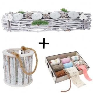 3er Set Windlicht + Bänder + Gesteck, Deko-Box Bänderbox 9 Rollen Kerzenhalter mit Glaseinsatz