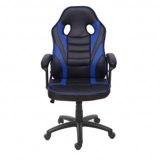 Bürostuhl HWC-F59, Schreibtischstuhl Drehstuhl Racing-Chair Gaming-Chair, Kunstleder ~ schwarz/blau - Vorschau 3