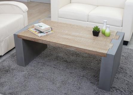 Couchtisch HWC-A15, Wohnzimmertisch, Beton-Optik Tanne Holz rustikal massiv 46x122x60cm