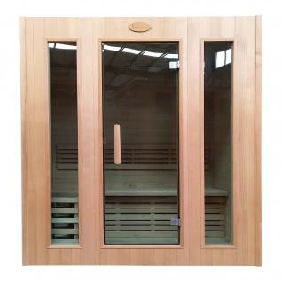 Sauna HWC-D59, Saunakabine Wärmekabine, Saunaofen 3, 0kW Saunasteine Sicherheitsglas 3 Personen 190x175x120cm