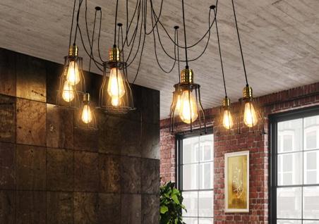 Pendelleuchte HWC-H81, Hängeleuchte Hängelampe, Industrial Metall höhenverstellbar schwarz ~ 9x Käfiglampenschirm