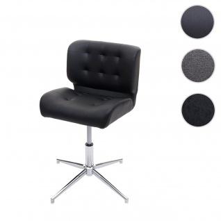 Esszimmerstuhl HWC-H42, Drehstuhl Küchenstuhl, höhenverstellbar drehbar Kunstleder schwarz, Chromfuß