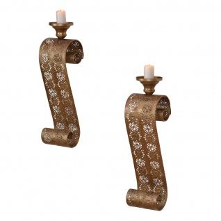 2er Set Wand-Kerzenhalter H174, Kerzenständer Wandleuchter, Eisen, 51x13x13cm