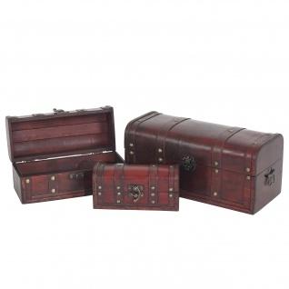 3er Set Holztruhe Holzbox Valence 10x21x10-17x38x18cm rund