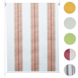 Rollo HWC-D52, Fensterrollo Seitenzugrollo Jalousie, Sonnenschutz Verdunkelung blickdicht 120x160cm ~ weiß/rot/beige