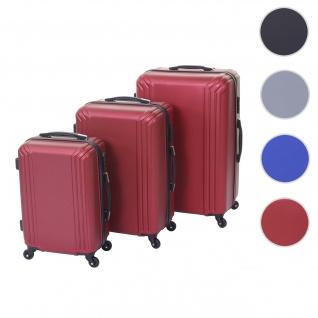 3er Set Koffer HWC-D54a, Reisekoffer Hartschalenkoffer Trolley Handgepäck, Höhe 72/60/50cm ~ rot, Standard