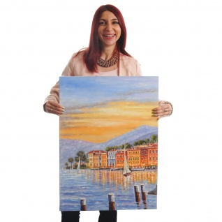 Ölgemälde Küste, 100% handgemaltes Wandbild XL, 70x50cm