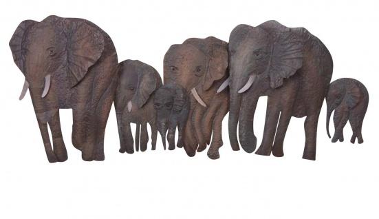 Wanddekoration H52, Wandbild Metallfigur, 46x110x10cm, Elefantenfamilie