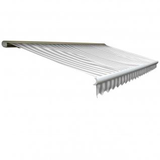 Elektrische Kassetten-Markise T123, Vollkassette Volant 4, 5x3m ~ Acryl Grau/Weiß