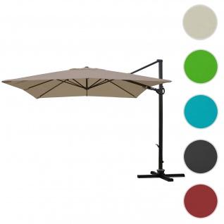 Gastronomie-Ampelschirm HWC-A39, 3x3m (Ø4, 24m) schwenkbar drehbar, Polyester/Alu 31kg ~ taupe-braun ohne Ständer - Vorschau 1