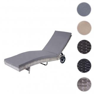 Sonnenliege HWC-D80, Gartenliege Relaxliege Liege, Poly-Rattan ~ grau, Kissen dunkelgrau