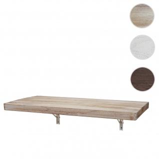 Wandtisch HWC-H48, Wandklapptisch Wandregal Tisch, klappbar Massiv-Holz ~ 120x60cm naturfarben