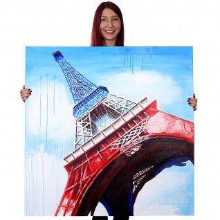 Ölgemälde Eiffelturm Tricolore, 100% handgemaltes Wandbild Gemälde XL, 100x100cm - Vorschau 2