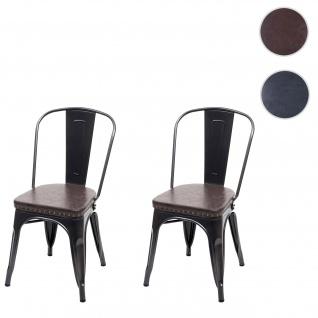 2x Esszimmerstuhl HWC-H10e, Küchenstuhl Stuhl, Chesterfield Metall Kunstleder Industrial Gastronomie ~ schwarz-braun
