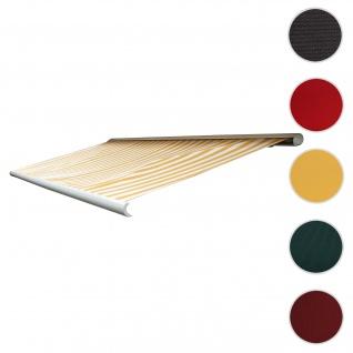 Bezug für Markise T122, Vollkassette Ersatzbezug Sonnenschutz 4x3m ~ Polyester gelb-weiß