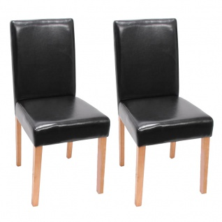 2x Esszimmerstuhl Stuhl Küchenstuhl Littau ~ Kunstleder, schwarz, helle Beine