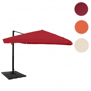 Gastronomie-Ampelschirm HWC-A96, 3x4m (Ø5m) Polyester Alu/Stahl 26kg ~ Flap, bordeaux mit Ständer, drehbar