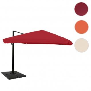 Gastronomie-Ampelschirm HWC-A96, 3x4m (Ø5m) Polyester Alu/Stahl 26kg ~ Flap, bordeaux mit Ständer
