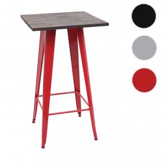 Stehtisch HWC-A73 inkl. Holz-Tischplatte, Bistrotisch Bartisch, Metall Industriedesign 107x60x60cm ~ rot