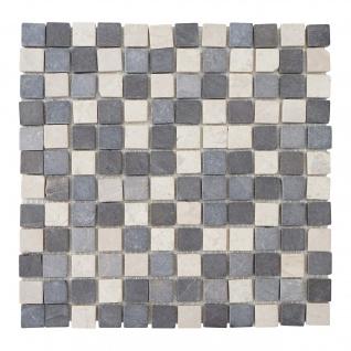 Steinfliesen Vigo T690, Marmor Naturstein-Fliese Quadrate, 11 Stück je 30x30cm = 1qm ~ grau-weiß