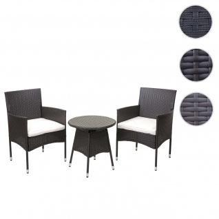 Poly-Rattan Balkonset HWC-G27, Sitzgarnitur Gartengarnitur, 2xSessel+Tisch ~ grau, Kissen creme