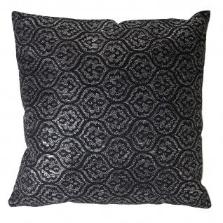 Deko-Kissen Barock, Sofakissen Zierkissen mit Füllung, schwarz Glanz-Effekt 45x45cm - Vorschau 3