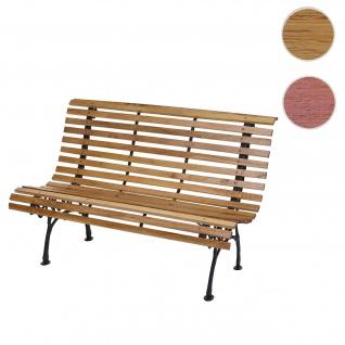 Gartenbank HWC-F97, Sitzbank Parkbank Holzbank, 2-Sitzer Gusseisen Holz 122cm 22kg ~ hellbraun