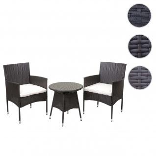 Poly-Rattan Balkonset HWC-G27, Sitzgarnitur Gartengarnitur, 2xSessel+Tisch ~ braun, Kissen creme