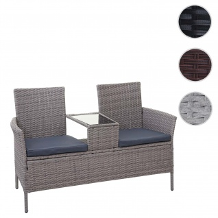 Poly-Rattan Sitzbank mit Tisch HWC-E24, Gartenbank Sitzgruppe Gartensofa, 132cm ~ grau, Kissen dunkelgrau