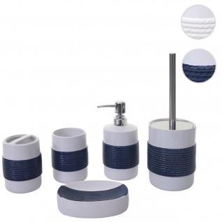 5-teiliges Badset HWC-C73, WC-Garnitur Badezimmerset Badaccessoires, Keramik ~ blau/weiß