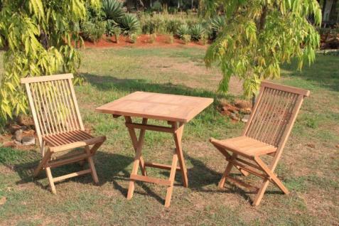 Garten-Garnitur LD13, Balkon Set, Teakholz, 1 Klapptisch 2 Klappstühle Tischmaße 75x80x80cm