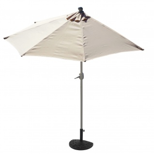 Sonnenschirm halbrund Parla, Halbschirm, UV 50+ Polyester/Alu 3kg ~ 270cm creme mit Ständer