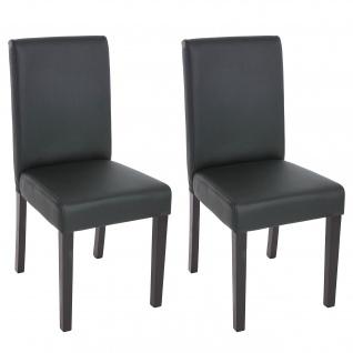 2x Esszimmerstuhl Stuhl Küchenstuhl Littau ~ Kunstleder, schwarz matt, dunkle Beine