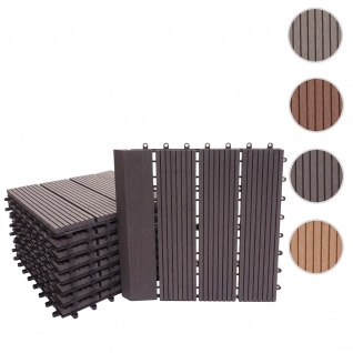 WPC Bodenfliese Rhone + Abschluss, Holzoptik Balkon/Terrasse, 11x je 30x30cm = 1qm Premium ~ anthrazit linear senkrecht
