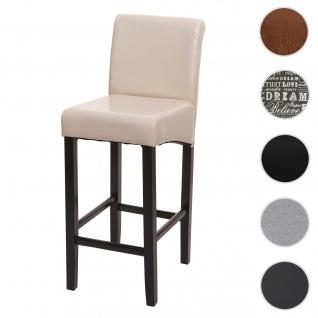 Barhocker HWC-C33, Barstuhl Tresenhocker, Holz ~ creme, dunkle Beine, Kunstleder