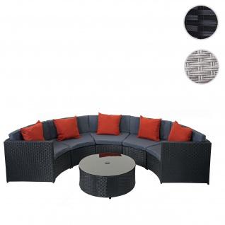 Poly-Rattan Garnitur rund HWC-E17, Gartengarnitur Sitzgruppe schwarz, Polster dunkelgrau, Kissen terrakotta