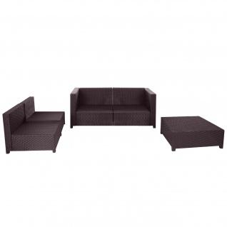 Poly-Rattan-Garnitur Tapa, Gartengarnitur Sitzgruppe Lounge-Set Sessel Sofa, Alu braun