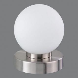 Tischleuchte Dimmer ~ Nickel matt, Glas opal weiß - Vorschau 3