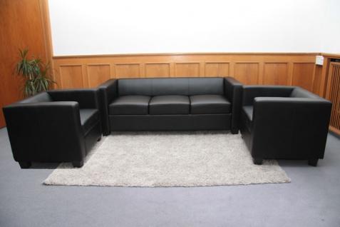 3-1-1 Sofagarnitur Couchgarnitur Loungesofa Lille Kunstleder ~ schwarz