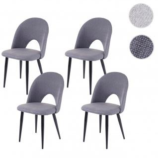 4x Esszimmerstuhl HWC-D73, Stuhl Küchenstuhl, Stoff/Textil dunkelgrau